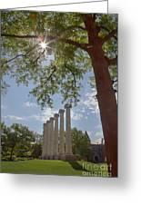 Mizzou Columns Sunflare Greeting Card