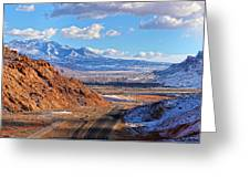 Moab Fault Medium Panorama Greeting Card by Adam Jewell