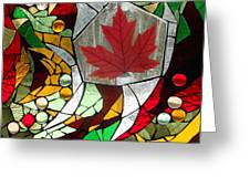 Mosaic  Stained Glass - Canadian Maple Leaf Greeting Card