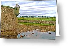 Moat And Wall Around Fortress In Louisbourg Living History Museum-ns Greeting Card