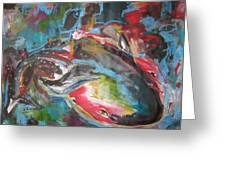 Mobie Joe The Whale-original Abstract Whale Painting Acrylic Blue Red Green Greeting Card