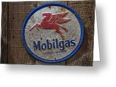 Mobil Gas Sign Greeting Card