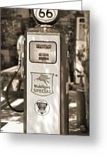 Mobilgas Special - Tokheim Pump  - Sepia Greeting Card by Mike McGlothlen