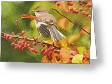 Mockingbird And Berries Greeting Card