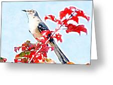 Mockingbird In The Leaves - Watercolor Greeting Card