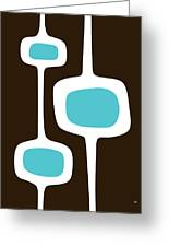 Mod Pod Three White On Brown Greeting Card