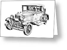 Model A Ford Roadster Antique Car Illustration Greeting Card