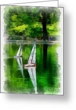 Model Boat Basin Central Park Greeting Card