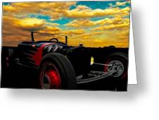 Model T Rat Rod Ride Cruisin Out At Sunset Greeting Card