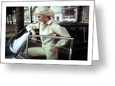 Model Wearing A White Kenzo Ensemble Greeting Card
