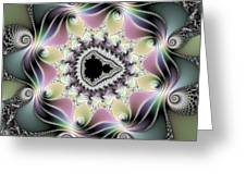 Modern Abstract Fractal Art Metallic Colors Square Format Greeting Card