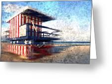 Modern-art Miami Beach Watchtower Greeting Card by Melanie Viola