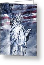 Modern Art Statue Of Liberty Blue Greeting Card