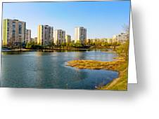 Modern Buildings Close To The Pond Greeting Card