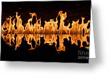 Modern Fireplace Fire Reflected In Water Feature No.5 Greeting Card