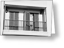 modern pvc sun shutter blinds on balcony doors and windows of house in tacoronte Tenerife Canary Islands Spain Greeting Card