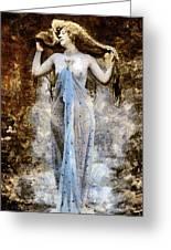 Modern Vintage Lady In Blue Greeting Card