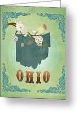 Modern Vintage Ohio State Map  Greeting Card