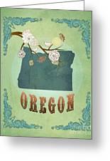Modern Vintage Oregon State Map  Greeting Card