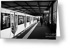 modern yellow u-bahn train sitting at station platform Berlin Germany Greeting Card