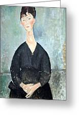 Modigliani's Cafe Singer Greeting Card