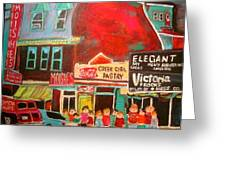 Moishe's Steak House 1960's Montreal Memories Greeting Card by Michael Litvack