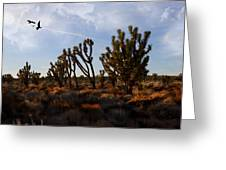 Mojave Desert Joshua Tree With Ravens Greeting Card