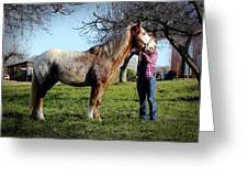 Molly And Her Horse  Greeting Card