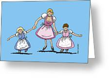 Mom With Daughters Wearing Dirndl Greeting Card