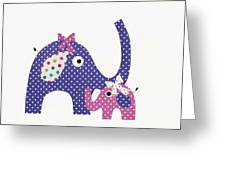 Momma And Baby Elephants Greeting Card