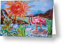 Momma And Baby Flamingo Chillin In A Blue Lagoon  Greeting Card