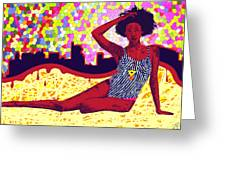 Mona Sur La Plage Urbaine Greeting Card by Kenal Louis