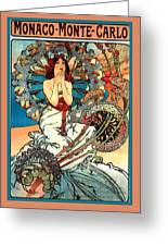 Monaco Monte Carlo Greeting Card by Alphonse Maria Mucha