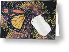 Monarch Butterfly On White Tulip Greeting Card by Lynda K Boardman