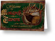 Monarch Tavern Greeting Card by JQ Licensing