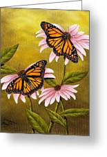 Monarchs And Coneflower Greeting Card