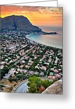 Mondello Beach Sunset Greeting Card by Viacheslav Savitskiy