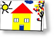 Mondrian Child Landscape Drawing Greeting Card