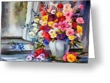 Monet Floral Edged Greeting Card