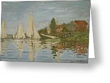 Monet Regattas At Argenteuil 1872 Greeting Card