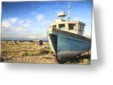 Monet Style Digital Painting Abandoned Fishing Boat On Beach Landscape At Sunset Greeting Card