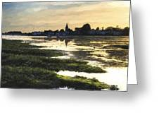 Monet Style Digital Painting Beautiful Summer Sunset Landscape Over Low Tide Harbor With Moor Greeting Card