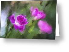 Monet Style Digital Painting Close Up Of Vibrant Pink Kaori Border Plant Greeting Card