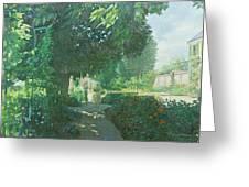 Monets Garden Oil On Board Greeting Card