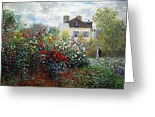 Monet's The Artist's Garden In Argenteuil  -- A Corner Of The Garden With Dahlias Greeting Card
