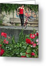 Monika Hinz Doing Elegant Bmx Flatland Trick Greeting Card