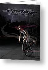 Monika Hinz Doing Great Bmx Flatland Action On Her Bike Greeting Card