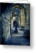 Monk In A Dark Corridor Greeting Card