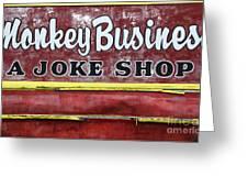 Monkey Business A Joke Shop Greeting Card