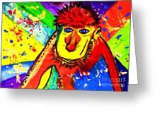 Monkey Pop Art Greeting Card